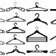 Clothes hanger silhouette collection vector illustration. — Stok Vektör