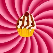 Fragola, crema ipnotica astratto con cupcake. vec — Vettoriale Stock