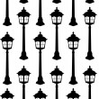 Old lantern silhouette seamless pattern vector illustration. — Stock Vector