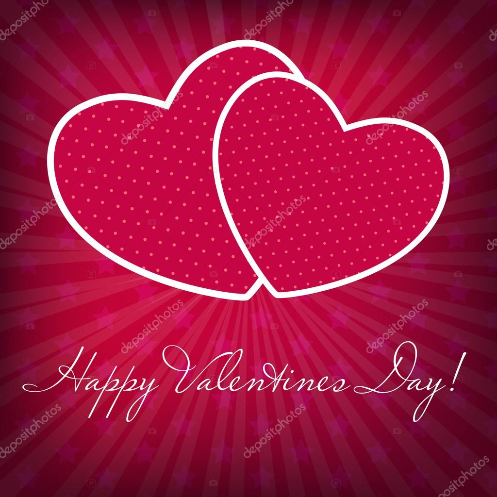 Happy Valentines Day card with heart. Vector illustration. — Stock Vector #14488631