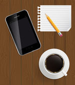 Abstract design phone, coffee, pencil, blank page on boards Back — Cтоковый вектор