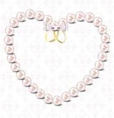 Pearl heart vector illustration background — Stock Vector