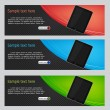 Vector website headers, tablet promotion banners — Vector de stock #17428367