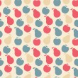 Vector seamless pattern of fruit - apple and pear — Image vectorielle