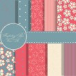 Set of beaautiful vector red and blue paper for scrapbook — Stock Vector