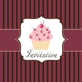Cupcake uitnodiging achtergrond — Stockvector