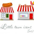 Little town icons set. Vector illustration — Stock Vector #17590143