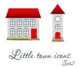 Conjunto de ícones de cidade pequena. ilustração vetorial — Vetor de Stock