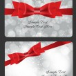 Stock Vector: Holiday gift cards with red bow, ribbon and place for text. Vect