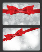 Holiday gift cards with red bow, ribbon and place for text. Vect — Stok Vektör