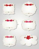 Conjunto de tarjetas de regalo diferente con cintas, elementos de diseño. vec — Vector de stock