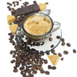 Cappuccino, brown sugar and coffee beans on white background — Стоковая фотография
