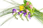 孤立在白色背景上的七彩花朵花束. — 图库照片
