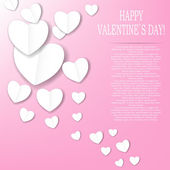 Valentines day paper heart backgroung, vector illustration — Stockvector