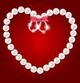 Pearl heart vector illustration background — Vector de stock