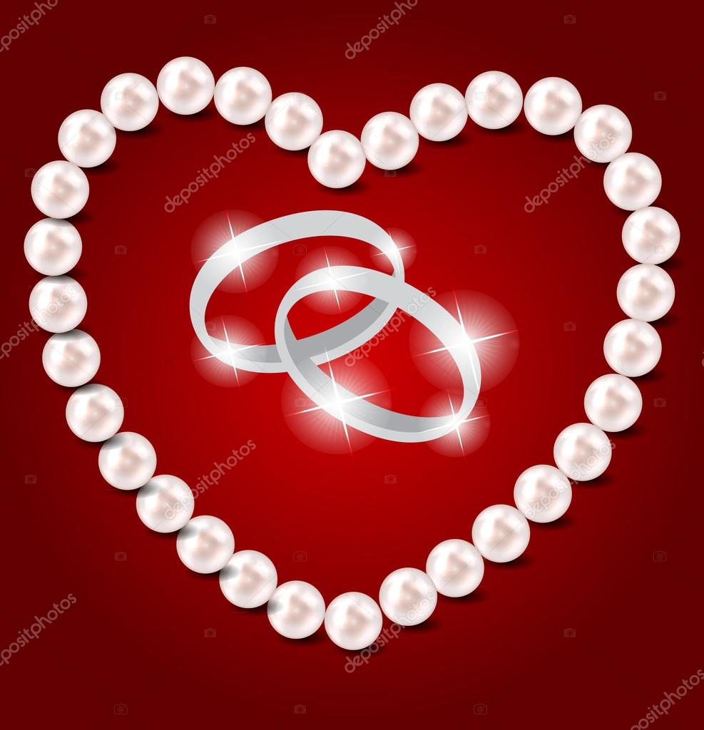 Pearl heart vector illustration background — Stock Vector #18144419