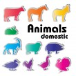 Vector domestic animals silhouettes — Stock Vector