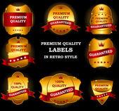 Labels de qualité dans un design vintage rétro — Vecteur