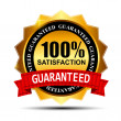 100% SATISFACTION guaranteed gold label with red ribbon vector i — Vector de stock #19348025