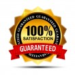 100% SATISFACTION guaranteed gold label with red ribbon vector i - Stock Vector