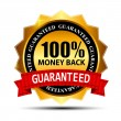 Stock Vector: Vector money back guarantee gold sign, label