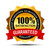 100% SATISFACTION guaranteed gold label with red ribbon vector i — Vecteur