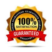 100% di soddisfazione garantita etichetta oro con nastro rosso vettore i — Vettoriale Stock