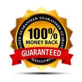 Dinheiro de volta garantia ouro sinal vector, etiqueta — Vetorial Stock