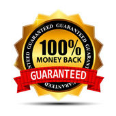 Vector money back guarantee gold sign, label — ストックベクタ