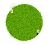 Grüne bio-freundliche siegel aus grünem gras. vektor-illustration. — Stockvektor