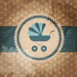 ストックベクタ: Vector illustration of blue baby carriage for newborn boy