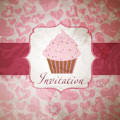 Cupcake invitation background — 图库矢量图片
