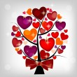 Royalty-Free Stock Vector Image: Valentines day card on the tree, vector illustration