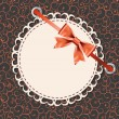 Vector greeting card with frame and bow. Space for your text or — Imagen vectorial