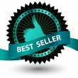 Vector Best Seller label with red ribbon. — Stock Vector