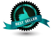 Vector Best Seller label with red ribbon. — Stockvector