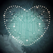 电路板,具有在心形状图案 — 图库矢量图片