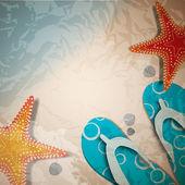 Sandalias y estrellas de mar en el fondo de playa naturaleza verano vector — Vector de stock