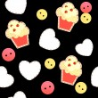 Seamless pattern with cute cupcakes, vector illustration — Imagen vectorial