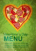 La pizza modèle de menu sur valentine`s jour, illustration vectorielle — Vecteur