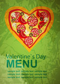 Pizza Menu Template on Valentine`s Day, vector illustration — Stock Vector