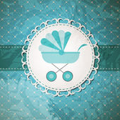Vector illustration of BLUE baby carriage for newborn boy — Stock Vector