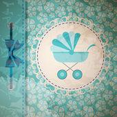 Vectorillustratie van blauwe kinderwagen voor pasgeboren jongen — Stockvector