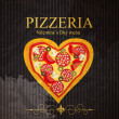 Pizza Menu Template on Valentine`s Day, vector illustration — Stock Vector #21311795