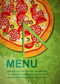 Modello di menu pizza, illustrazione vettoriale — Vettoriale Stock