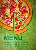 Pizza menymall, vektor illustration — Stockvektor