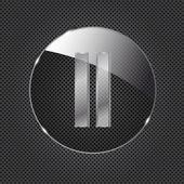 Icono de botón de vidrio sobre fondo de metal. ilustración vectorial — Vector de stock