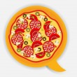 Pizza speech bubble. vector illustration - Stock Vector