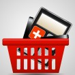 Calculator and shopping basket vector illustration — 图库矢量图片