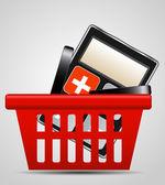 Calculator and shopping basket vector illustration — Stock Vector